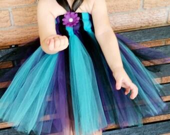 Purple, Black, and Turquoise Empire Waist Tutu Dress
