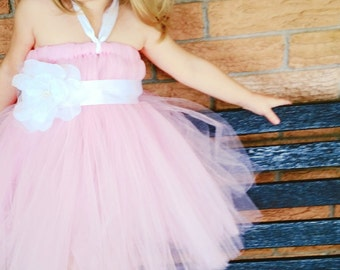 Pink and White Empire Waist Tutu Dress