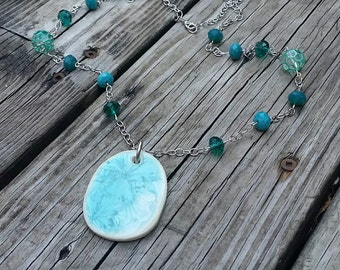Teal Pendant Necklace With Blue/Green Beaded Chain