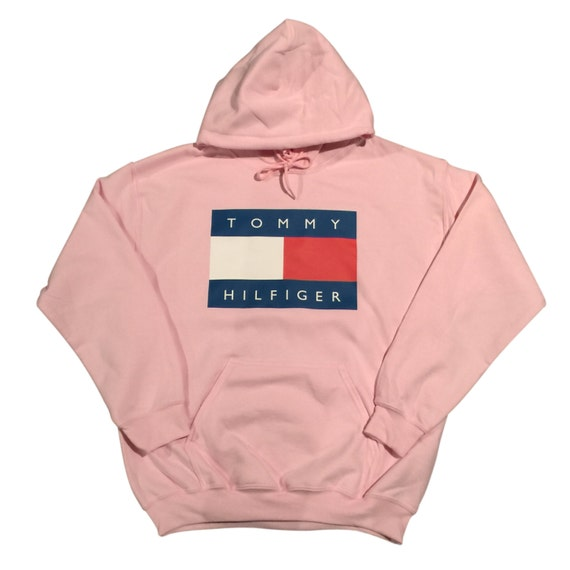 pink tommy hilfiger logo hoodie sweatshirt vintage by. Black Bedroom Furniture Sets. Home Design Ideas