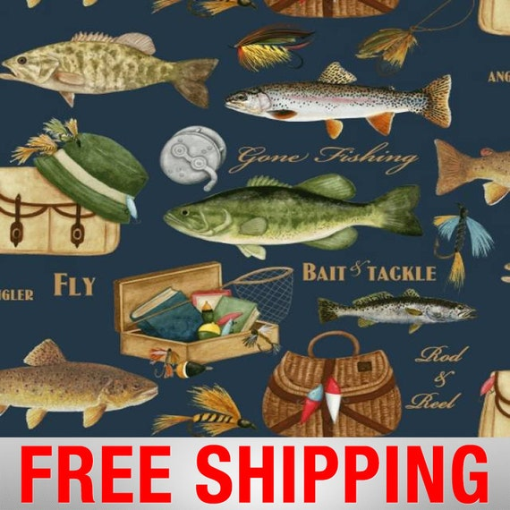 Fleece Fabric Fishing Fish 60 Wide Free Shipping Style