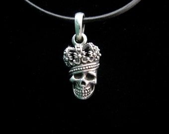Skull skull and crossbones Crown pendant Sterling Silver 925