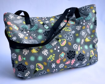 Witchy Tote Bag/Purse/Gray Purse/Bag/Halloween Purse/Halloween/Potions/ Spider Tote Bag