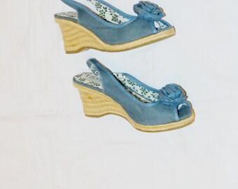"Vintage Open Toe Wedge Organic ""Fresh Green Fashion"" Size 8 Denim and Hemp 1990"
