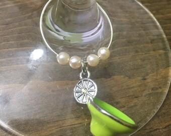 Wine Glass Charms, Custom Handmade, Turqouise Beads, Tiger Eye Beads, Funky Martini Glass Charms