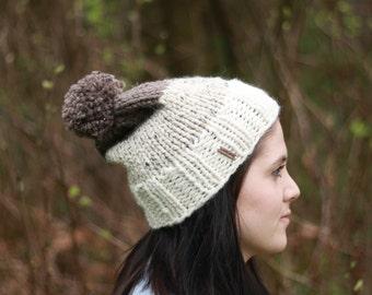 Knit slouchy ombre three-tone pom pom winter hat/ fisherman, oatmeal, barley