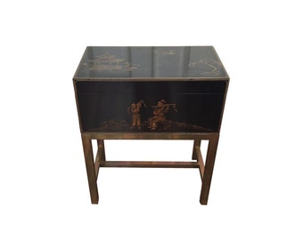 Midcentury Chinese Lacquered Box on Stand