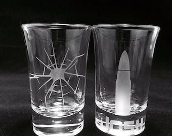 Custom Shot Glass, Birthday Gift, Etched Shot Glass, Gift for Her, Gift for Him, Birthday Gift, Bullet, Hunting