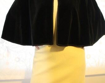 Elegant Vintage Black Velvet Cape
