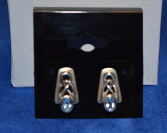 E-007: Solid Sterling Silver Celtic Style with Aqua Faceted Stone Earrings