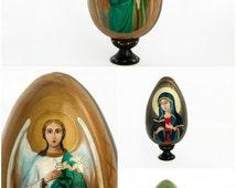Easter eggs easter decoration christian painted egg wooden egg easter gift for mom grandma gift grandparent unique gift angel Gabriel saint