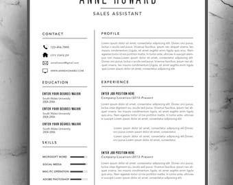 modern resume template instant download minimalist creative professional resume package with cover letter business - Minimalist Resume Template