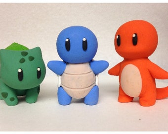 CLAYBOY Squirtle, Charmander, and Bulbasaur