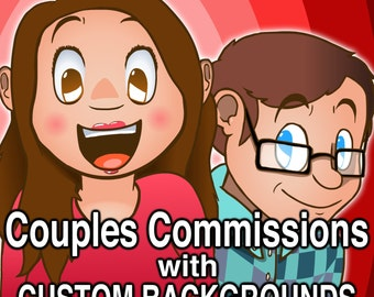 "Cartoon-Couple Commission ""Custom Background"""