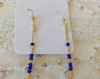 Brilliant Gold and Indigo Drop Earrings