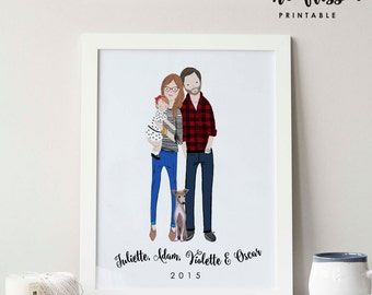 Custom Family Portrait | Couple Portrait | Poster | Digital Illustration | Drawing | Wall Art