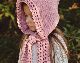 Knitting Pattern (pdf file) Instant Download - Hooded Scarf