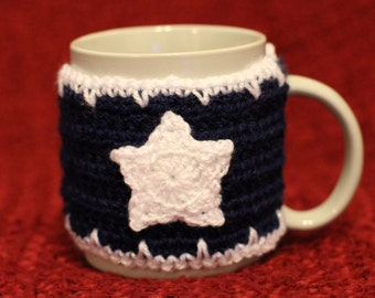 Navy Blue Crochet with White Star and Icicle Trimming Mug Cosy / Cup Cozy