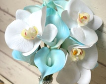 Real Touch Blue Calla Lily Bridesmaids Bouquets Wedding Flower Package Light Blue Turquoise Wedding