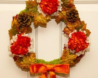 Chrysanthemum Wreath // Orange Mum Wreath // Mum and Leaf Wreath // Fall Mum Wreath // Mum Wreath // Autumn Mum Wreath / /  Orange Ribbon
