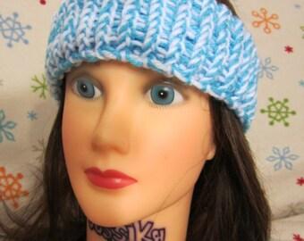 Light Blue/ White Adult Winter Headband