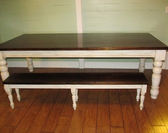 Vintage 6 Leg Farmhouse Bench, Rustic Farm Bench, Mudroom Bench, Entry Bench, Solid Wood
