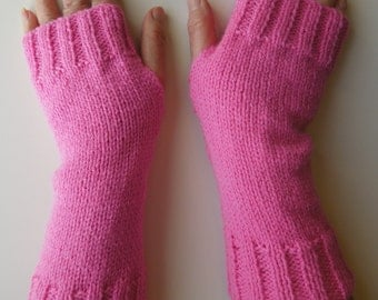 Pink Knitted Wrist Warmers