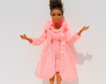 Handmade knitted fashionable Barbie outfit - vibrant coral shift dress and button-up evening coat. For dolls with style. Ready to ship!