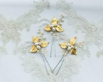 Leaves bridal  hair pins (Set of 3) Bridal hair piece Bridal headpiece Leaf heagpiece wedding hair accessories  Prom hair piece