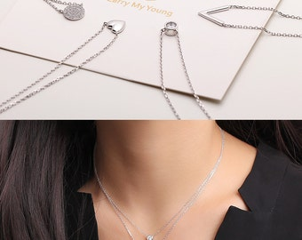 Diamond bezel solitaire necklace / sterling silver / gold vermeil plated charm necklaces - Delicate simple everyday jewelry