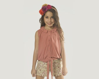 "Girls Fall Top in Girls Size 2 to 13 Years -- The ""Bow Peep"" Blouse in Blush"