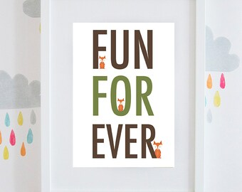 "Boys ""Fun Forever"" little fox gift print available framed or unframed. Brown and green"