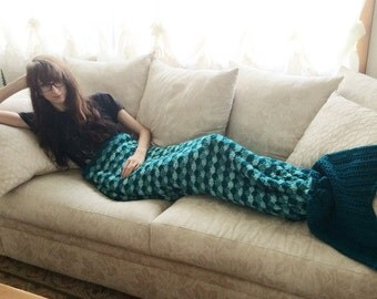 MADE TO ORDER Mermaid Tail Crochet Blanket   Handmade Colorful Scales