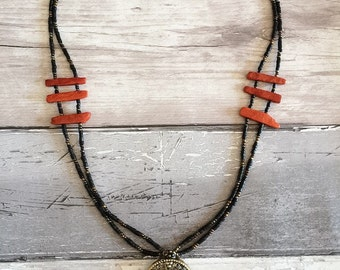 Statement Necklace, Pendant Necklace, Boho Necklace, Ethnic Jewellery, Coral Necklace, Black Necklace, Bohemian, Gifts for Her, Necklace.