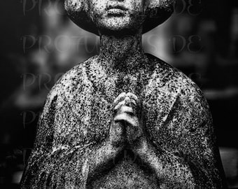 Fine Art Print , Art Photography , Religious Art , Pere Lachaise , Sculpture Photography , Woman , Religion , Wall Decor , Paris , France