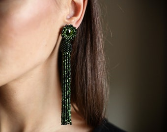 Olive green beaded tassel earrings. Long tassel earrings. Statement earrings. Beaded fringe earrings Bridesmaid earrings Swarovski earrings