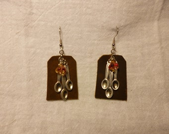 Spoon Theory Spoon Charm, Leather, and Czech Glass Flower, Earrings