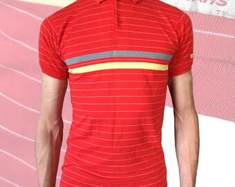 Vintage Retro Men's Red Striped 50/50 Polo — XS