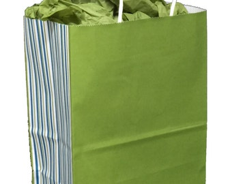 Pack 10 handled paper bags stripes dejour+20 sheets of matching tissue,8x4.5x10.25,Gift bag and tissue paper, small paper gift bag