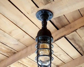 Outdoor Lighting- Outdoor Ceiling Pendant- Iron Pipe Light- Outdoor Kitchen Light- Outdoor Patio- Barn light- FREE SHIPPING!