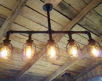 Rustic Industrial Lighting Chandelier- Edison Bulb Iron Pipe Ceiling Light- Modern Industrial- Farm House Chandelier- FREE SHIPPING
