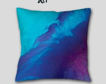 Navy blue Purple plum, Decorative Throw Pillow, Boho style, Aqua teal, Jewel tone Home decor, Abstract Accent cushion, Cover Case