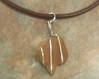 Brown Cord Sea Glass Necklace