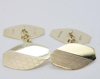 Engraved Hexagonal Cufflinks - 9ct Gold