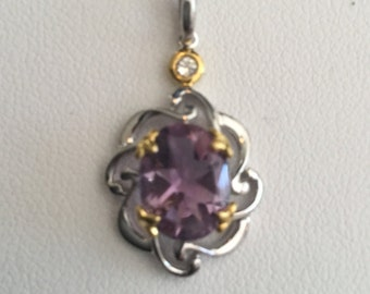 Pendant- Amethyst Stone in silver and 18 kt gold plated on silver chain