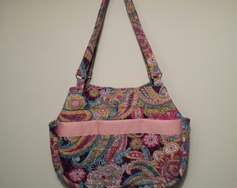 Deep purple with pastel paisley quilted shoulder bag.
