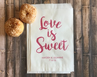 Love is Sweet Wedding Favor Bags, Personalized Favor Bags, Custom Favor Bags, Glassine Bags