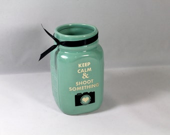 Keep Calm & Shoot Something Mug - Photography Lover - Photographer gift - Ceramic Mason Jar Cup
