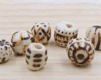 Ceramic Beads Porcelain Handpainted Brown White 7