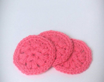 Set of 3 face scrubbies, make up remover pads, 100% cotton face scrubbies